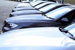 Fleet of cars. Many cars in line, showroom yard Stock Photo