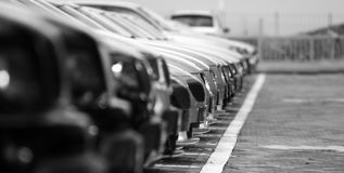 Fleet of cars. Many cars in line, showroom yard Royalty Free Stock Images