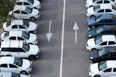 Fleet of cars. A long line of cars outdoors royalty free stock photos