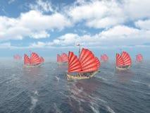 Fleet of Chinese junk ships Stock Photo