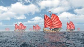 Fleet of Chinese junk ships Stock Image