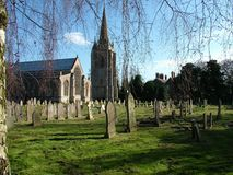 Fleet Church and Graveyard, Lincolnshire. Church and Bell Tower, Fleet, Lincolshire stock images
