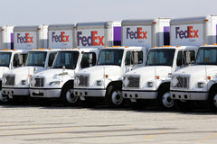 Fleet of FedEx delivery trucks in a parking lot Royalty Free Stock Photography