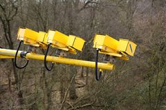 Fleet, Hampshire, UK - March 11th 2017: Average speed cameras in operation on the M3 Motorway to reduce vehicle speed to safe limi. Ts in roadworks royalty free stock photography