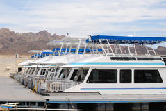Fleet of Houseboats. Fleet of large houseboats in the harbor stock photo