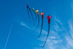 A fleet of kites. Over Mission Beach, San Diego stock photography