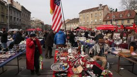 Fleet market in Zagreb stock footage