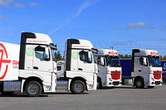 Fleet of Mercedes-Benz Actros Trucks and Blue Sky Stock Photos