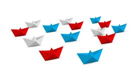 fleet of origami paper boats. Teamwork concept. Stock Photography