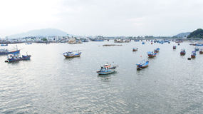 Fleet of sampans off coast of Nha Trang, Vietnam Royalty Free Stock Photos