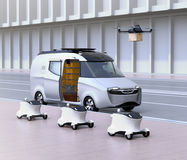 Fleet of self-driving delivery robots, van and drone royalty free illustration