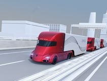 A fleet of self-driving electric semi trucks driving on highway royalty free illustration
