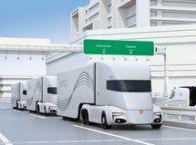 A fleet of self-driving electric semi trucks driving on highway stock illustration