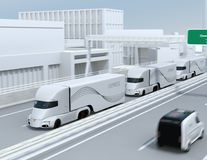 A fleet of self-driving electric semi trucks driving on highway vector illustration