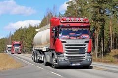 Fleet of Semi Tank Trucks Trucking royalty free stock images
