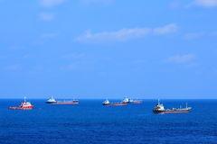Fleet of ships. The fleet of ships in the sea royalty free stock image