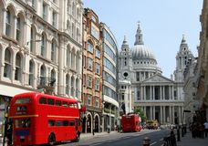 Fleet Street and St. Paul's Cathedral Royalty Free Stock Image
