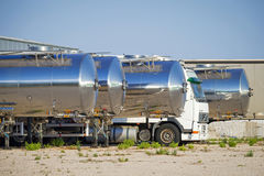 Fleet of tanker trucks side by side. On a yard, Greece Royalty Free Stock Photography