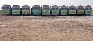 Fleet of trucks in Gujarat Royalty Free Stock Photography