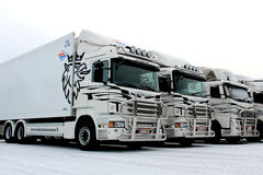 Fleet of Trucks in Winter Stock Photography