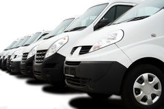 Fleet of vans. Commercial cars fleet on a white background Stock Photo