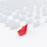 Fleet of white paper ships with one red, 3d render Stock Photography