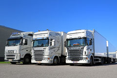 Fleet of White Scania and Volvo Trucks on a Yard. TURKU, FINLAND - SEPTEMBER 13, 2014: Fleet of white Scania R series and Volvo FH trucks by a warehouse stock photo
