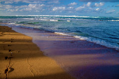 Fleeting footsteps, kauai's north shore, hawaii Royalty Free Stock Images
