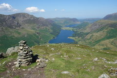 Fleetwith Pike Cairn, Buttermere and Crummock Water Royalty Free Stock Photos