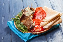 Fleisch auf Aufsteckspindeln lizenzfreies stockbild