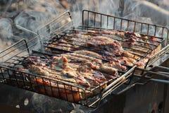 Fleisch auf dem Feuer Stockfoto