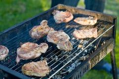 Fleisch auf dem Grill stockbild