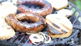 Fleisch auf dem Grill stock video footage