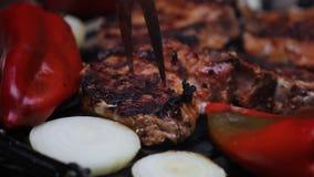 Fleisch auf dem Grill stock footage