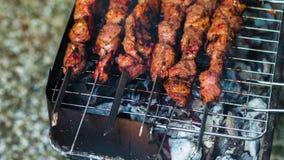 Fleisch auf den Aufsteckspindeln gegrillt über dem Glühen Geschmackvolles gebratenes Grillfleisch mit Kruste Abschluss oben des S stock video footage
