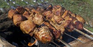 Fleisch auf den Kohlen Stockfotografie