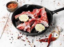 Fleisch auf der Rippe des Lamms Stockfoto