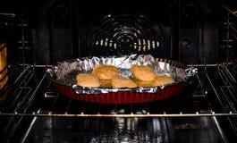 Fleisch auf Folie im Ofen lizenzfreie stockfotos