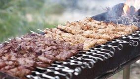 Fleisch aufgereiht auf Aufsteckspindeln stock video