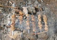 Fleisch, das auf das Lagerfeuer sich vorbereitet Lizenzfreie Stockfotografie