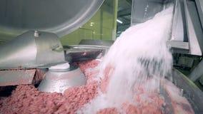 Fleisch, das in einer Anlage gehackt ist stock video footage