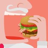 Fleisch fressend ein großer Hamburgervektor komisch Lizenzfreie Stockfotografie