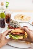 Fleisch fressende Burger Stockfoto