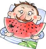 Fleisch fressende Wassermelone der Karikatur vektor abbildung