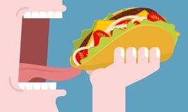 Fleisch fressender Taco Verbrauch des Fastfoods Traditioneller Mexikaner FO lizenzfreie abbildung