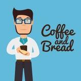 Fleisch fressendes Brot und Kaffee lizenzfreie abbildung