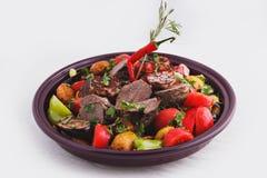 Fleisch gebacken mit Gemüse Lizenzfreie Stockfotografie