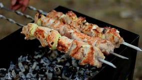 Fleisch gebraten auf Aufsteckspindeln stock video