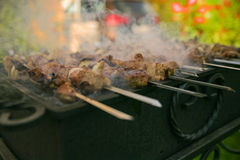 Fleisch gebraten auf Feuer Lizenzfreies Stockbild