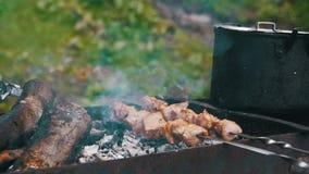 Fleisch gegrillt auf Aufsteckspindeln Kochen des Kebabs Langsame Bewegung stock footage